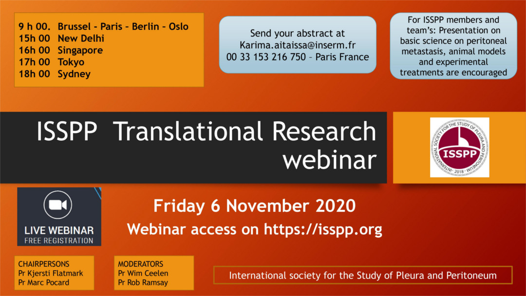 Announcement for ISSPP Translational research meeting Nov 6th, 2020